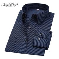 DAVYDAISY/Лидер продаж, Весенняя Мужская рубашка в полоску с длинными рукавами, однотонная Клетчатая Мужская деловая рубашка, брендовая одежда, ...