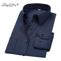 DAVYDAISY Hot Sale Spring Men Shirt Long Sleeved Striped Solid Plaid Male Business Shirt Brand Clothing Formal Shirt Man DS022 Dress Shirts