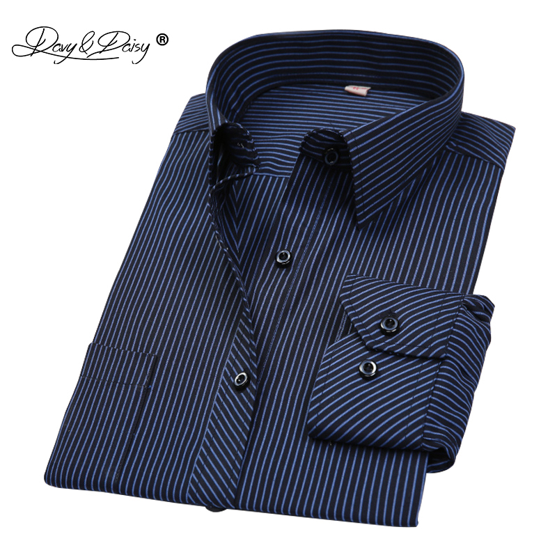 DAVYDAISY Men Shirt Mens Business Casual Long Sleeved Shirts Men Striped Dress Work Social Shirt Brand Camisa Masculina DS022