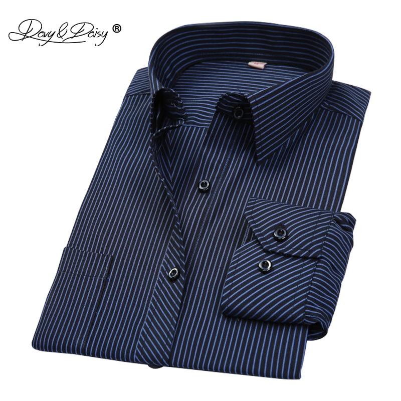 DAVYDAISY Men Shirt Mens Business Casual Long Sleeved Shirts Men Striped Dress Work Social Shirt Brand Camisa Masculina DS022
