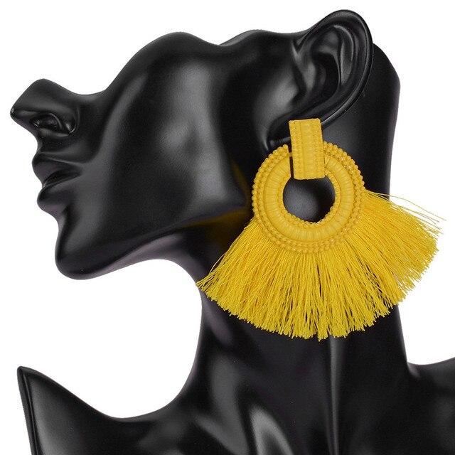 Vintage Long Tassels Drop Earrings Bohemia Geometric Handmade Women Dangle Earrings Fashion Jewelry Accessories Female Hanging