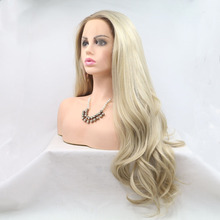 Marquesha Natural Looking Half Hand Tied Long Wavy Heat Resistant Fiber Synthetic Dark Root Lace Front Ombre Blonde Wig