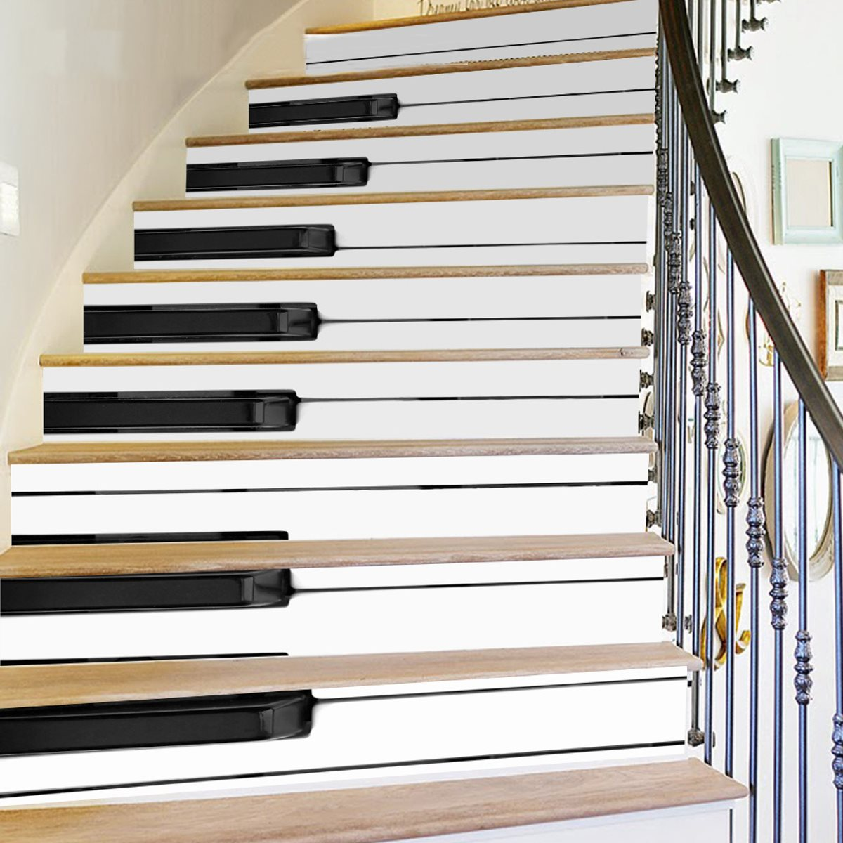18*100cm Diy 3d Piano Stairs Stickers Risers Decoration Stairway ...