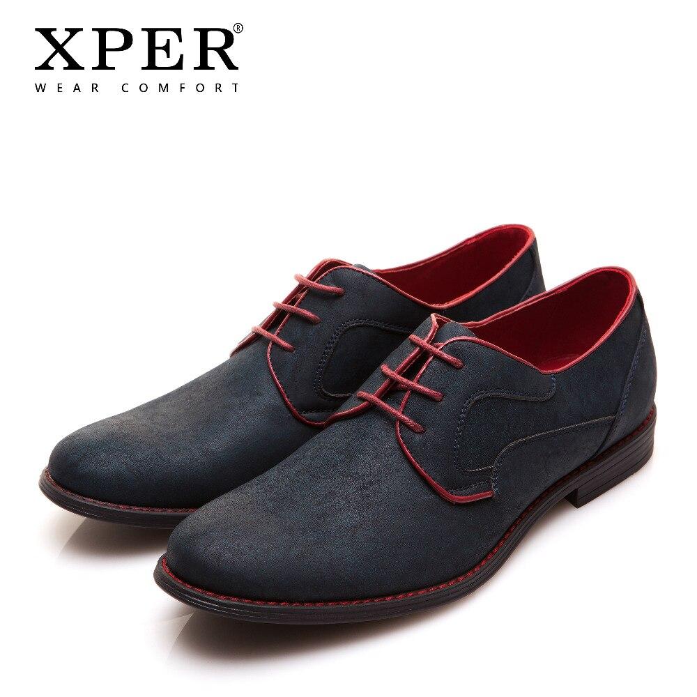 Size 40~46 Brand XPER Casual Men Dress Shoes Lace-Up Wear Comfortable Men Wedding Shoes #YM86518BL/BU