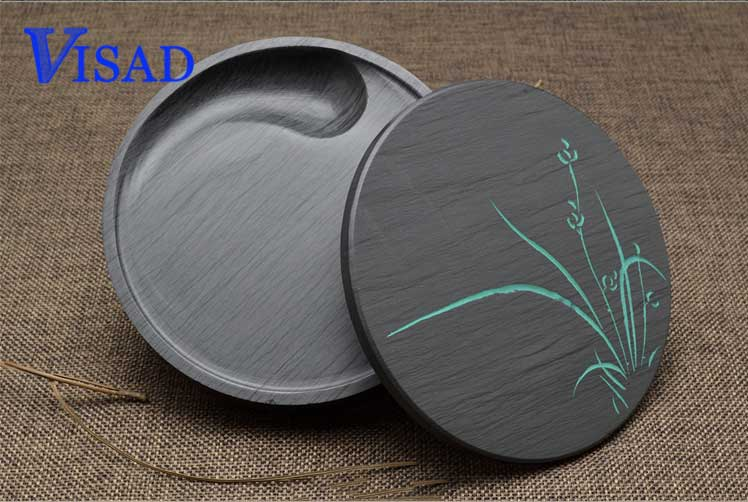 Water Color Paints China famous Students ink stone painting tool Rib Tai Chi inkstone lost ink plus frill hem rib top
