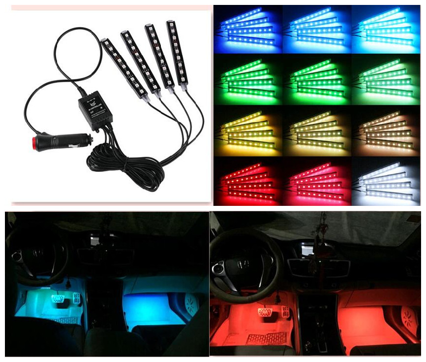 2018 Car New Refitting accessories Car Styling DC 12V 4in1 Remote RGB Wireless Control Car Truck 9 LED Neon Interior Light Lamp