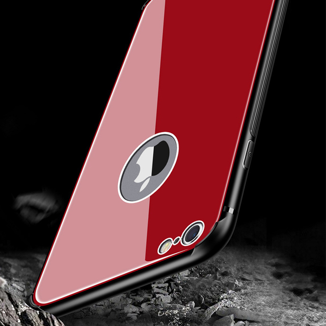 1addca1e0f647 Tempered Glass Case For Iphone 6s Plus Back Cover Hard Case Bumper