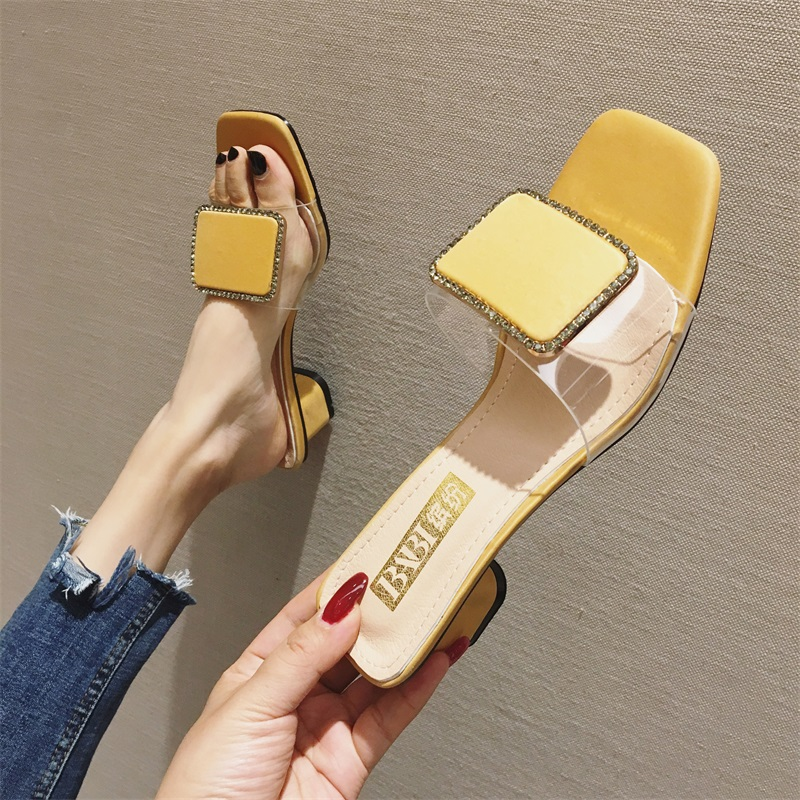 Summer Transparent Women Slippers New Metal Buckle Square Heels PVC Slippers Female Party Shoes Open Toe Ladies Shoes For WomenSummer Transparent Women Slippers New Metal Buckle Square Heels PVC Slippers Female Party Shoes Open Toe Ladies Shoes For Women