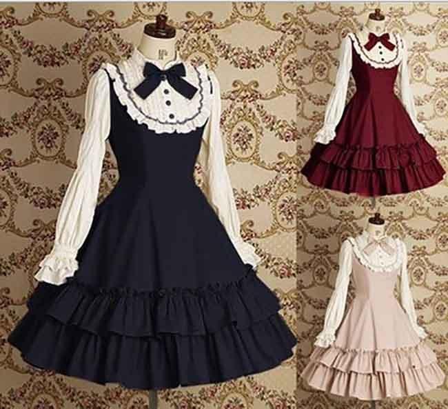 Filles JSK gothique victorien femmes faux 2 pièces robe en couches Cosplay princesse Costume Lolita robe à manches longues coton grande taille