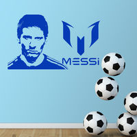 2017 Art Design Lionel Messi Wall Sticker Home Decor DIY Vinyl Football Removable Sports Soccer Player