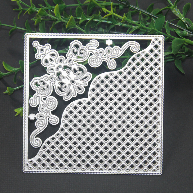 Grid Background Square Frame Carbon Steel Cutting Dies Stencils DIY Scrapbooking Paper Cards Photo Album Decorative Embossing