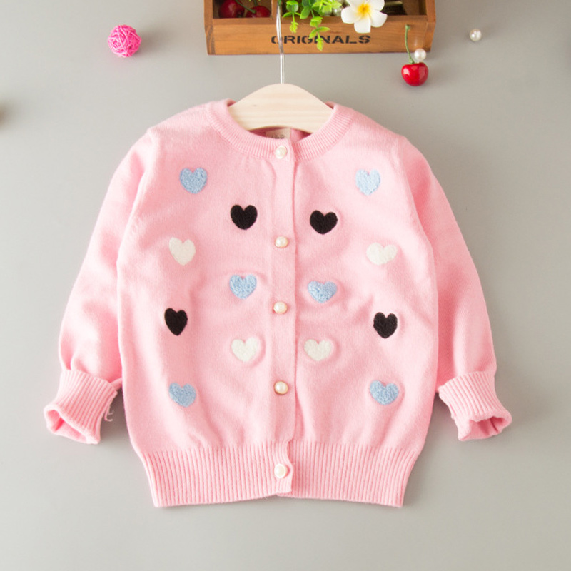 Sweater Cardigan For Girls Heart Cotton Solid Sweater Coat For Girl - Children's Clothing - Photo 2