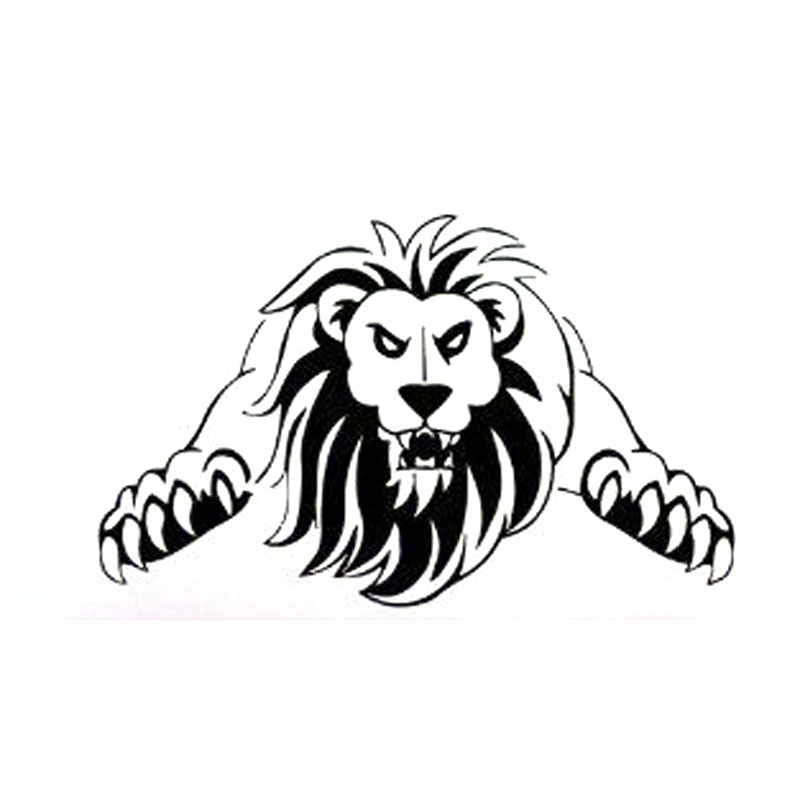 15.1X9.3CM JUMPING LION Predator Wild Animal Black Silver