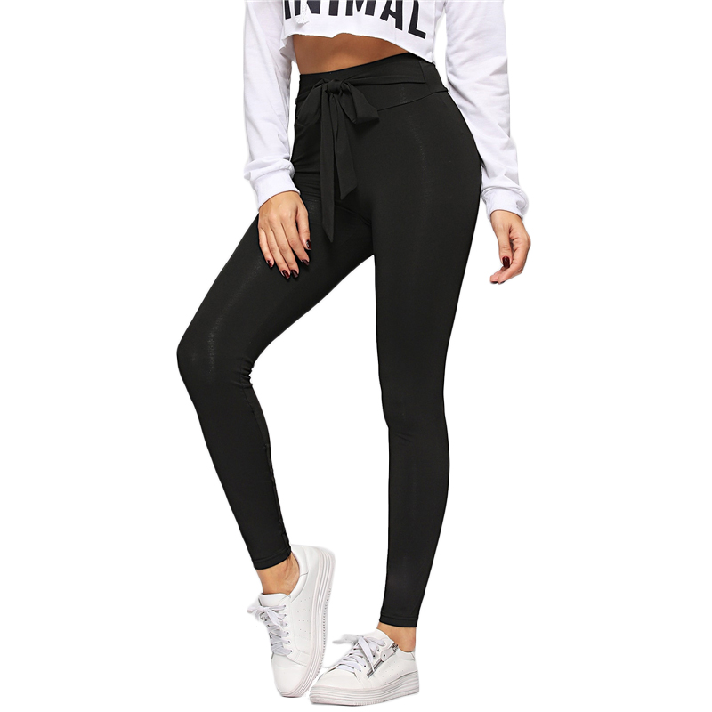 SHEIN Black Tie Waist Drawstring Solid Skinny Leggings Women 2019 Spring Active Wear Leisure Casual Workout Leggings 9
