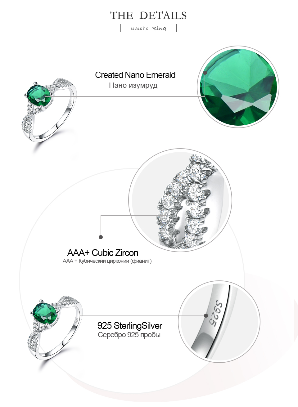 UMCHO Emerald  925 sterling silver rings for women RUJ099E-1-pc (6)