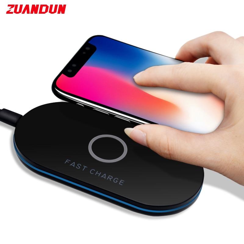 ZUANDUN Qi Sans Fil Chargeur 10 W Smart USB Rapide Rapide Adaptateur De Charge Pour iPhone X 8 8 Plus Pour Samsung S8 Note8 S7 Bord Chargeur