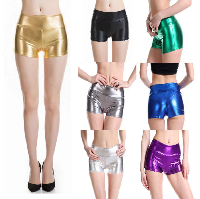lady summer fake leather punk Shorts Mid waist bright Shine party polo Dance disco Shorts Woman Silver green golden Short pant