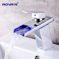 ROVATE LED Basin Faucet  Watefall Sink Taps Colors Change with Temperature Bathroom Mixer Brass