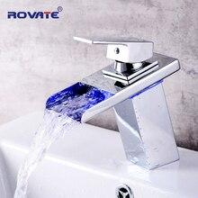 ROVATE светодиодный кран для раковины Watefall раковина краны цвета изменить с Температура ванная комната смеситель латунь