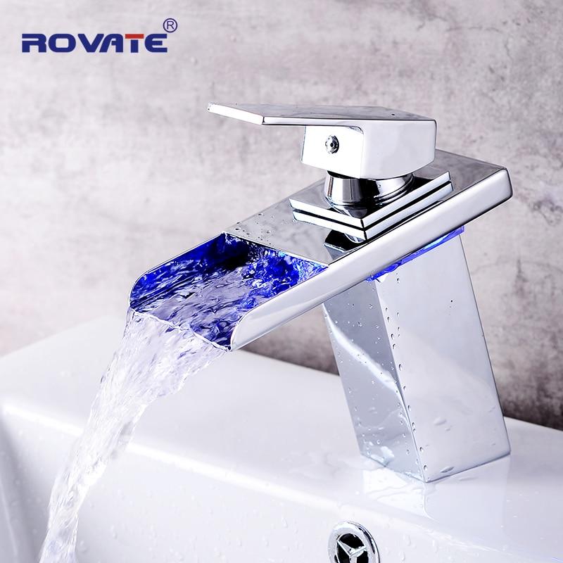 ROVATE светодиодный кран для раковины Watefall краны для раковины изменение цвета с температурой смеситель для ванной комнаты латунь|Смесители для бассейна|   | АлиЭкспресс