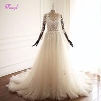Fmogl Vestido de Noiva Long Sleeve Appliques Bohemian Wedding Dresses 2018 Pearls Beaded High Neck Vintage A Line Wedding Gown