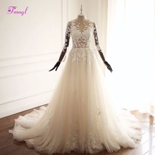 Fsuzwel Long Sleeve Wedding Dresses 2019 A-Line Wedding