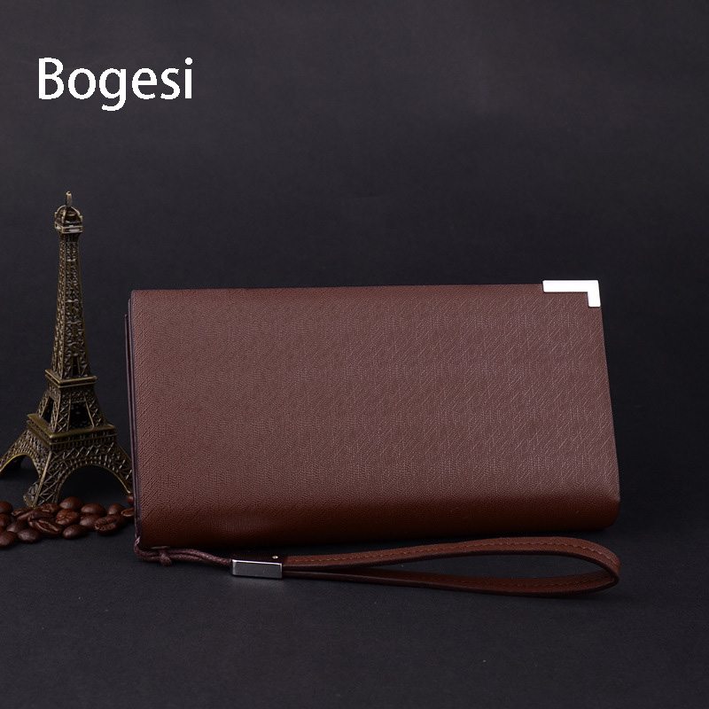 Bogesi New 2018 Men Wallets PU Leather Purse Male Walet High-Capacity Multi-Card Bit Long Wallet Clutches Bag Card Holder