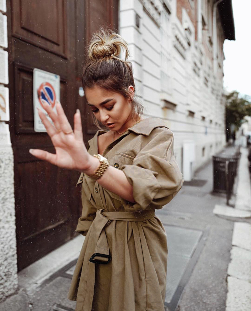 OOTN Long Batwing Sleeve Mini Dress Women Office Lady Shirt Dresses Sashes Vintage Tunic Dress Khaki 2019 New Outerwear Casual (6)