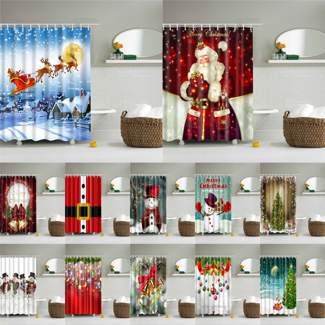 180*180cm Waterproof Shower Curtain for Bathroom Christmas Print Bathtub Curtains Decoration Polyester Bath Curtain 1PC