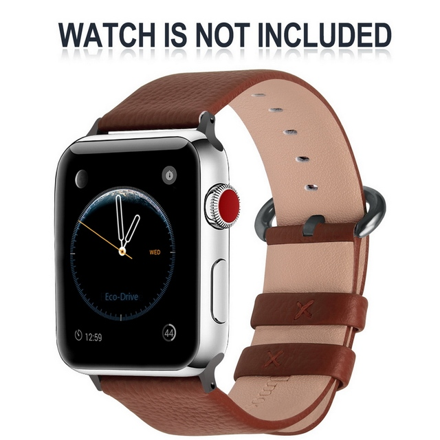 5 Colors Leather Strap Apple Watch Band with Stainless Clasp Watch Accessory Bracelet 38mm/42mm for Apple Watch Series 3&2&1