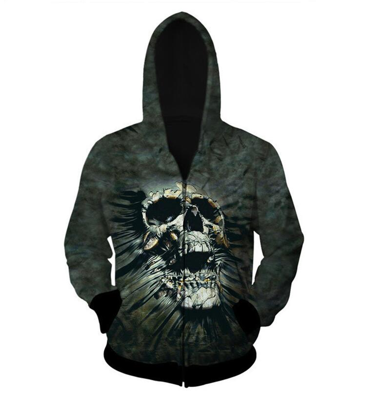 2018 new 3D Print Zipper Hoodies Men Skull Smoking Long-sleeves Hooded Sweatshirts Loose Fashion Harajuku Zipper Jacket