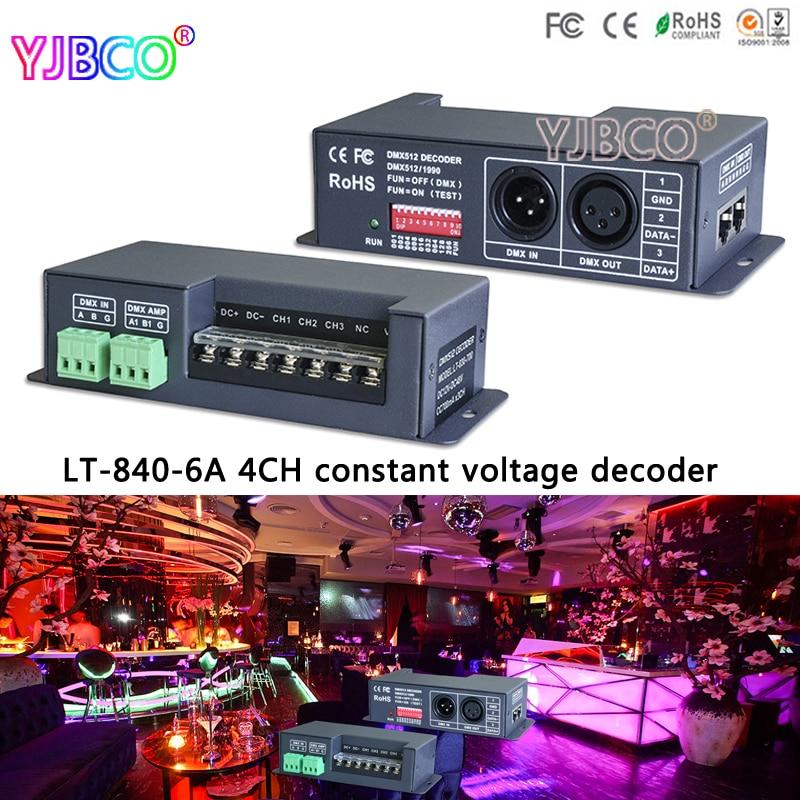 LT-840-6A; DMX/RDM 4CH CV constant voltage decoder For RGB RGBW led lamp light,DC5V-24V input;6A*4CH 4 channel output цена 2016