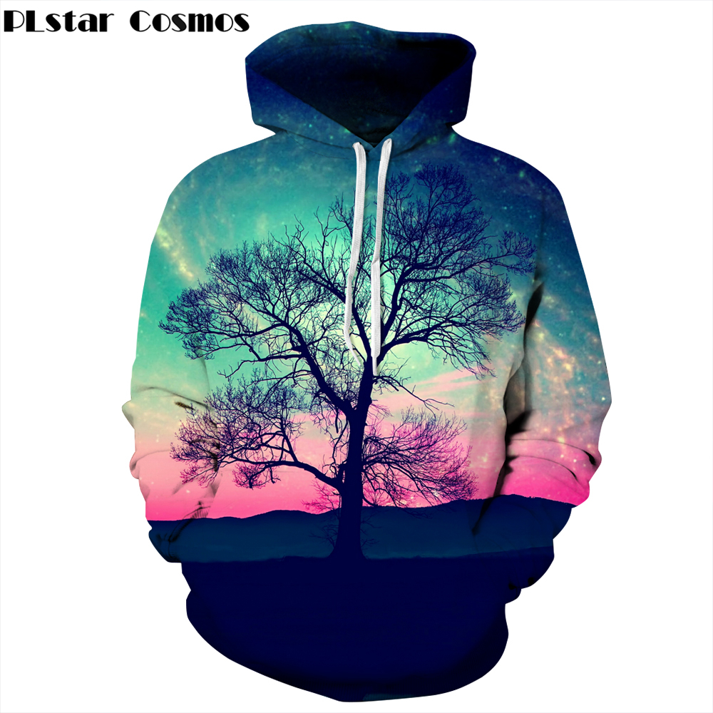 PLstar Cosmos 2017 New Fashion Men/Women 3d hoodies Print Nightfall Trees Hooded Sweatshirts Unisex Space Galaxy Hoodies