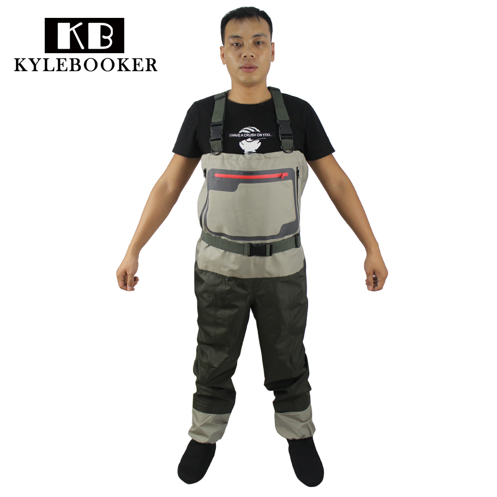 New Men's Fly Fishing Chest Waders Breathable Waterproof Trousers Fishing Wader Hunting Wading Pants with Stocking Foot