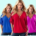 Large size S-5XL European American women's  loose sleeve T-shirt leisure wild fashion sexy V-neck back zipper fold sleeve Tops