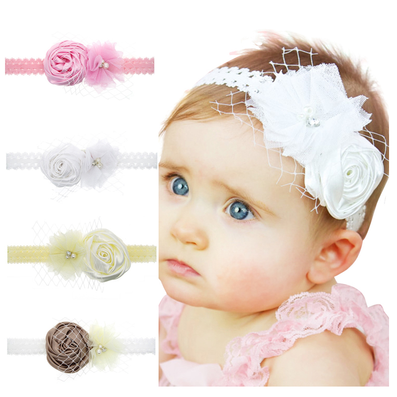 Flower Headband Matching Sparking Rhinestone Chiffon Flower Headband Hair Accessories Headwear Kids  Hair Bands  h057