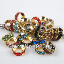 Wholesale 100pcs Mixed Colors Rhinestone Gold Color Metal Spacer Large Hole Charms Beads For European Bracelet 10x4mm 010005