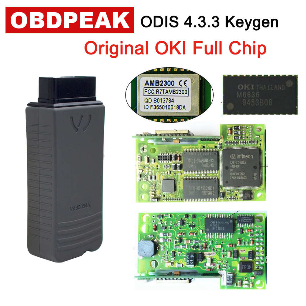 D'origine OKI VAS 5054A ODIS V4.3.3 Keygen Bluetooth AMB2300 VAS 6154 WIFI VAS5054A Plein Puce VAS5054 UDS Pour VAG Diagnostic outil
