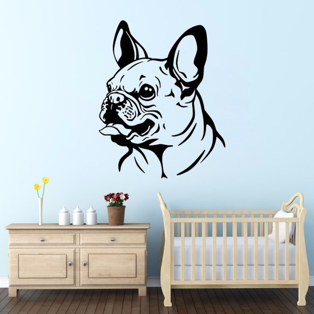 ZOOYOO French Bulldog Wall Decal Sticker Art Decor Bedroom Design Mural Cute Animal Wall ...