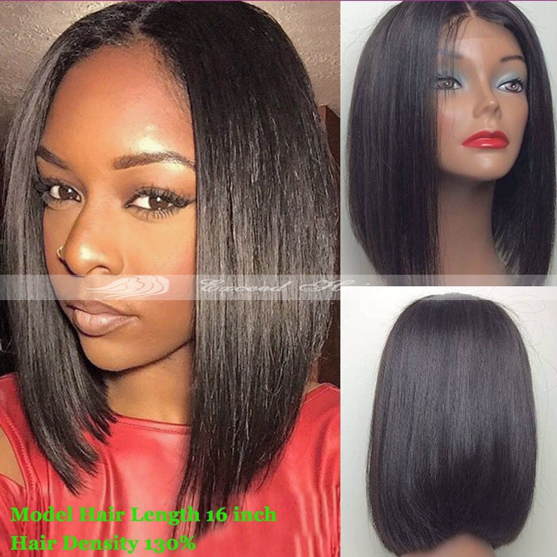 2017 New Fashion Long Bob Short Full Lace Wig Human Hair Wigs For Black Women Front 8 16 Inch In
