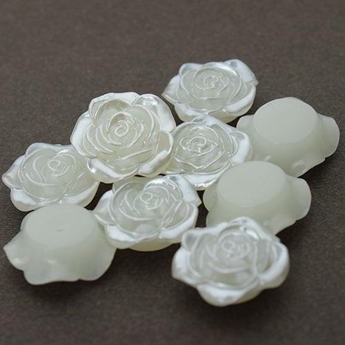 20 шт./лот 18 мм Flatback белый имитация цветок жемчуг Бусины Талисманы Материал DIY ремесла жемчуг Бусины для украшения ювелирных изделий