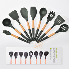 Wooden Handle Silicone Slotted Landle Soup Ladle Turner Spatula Kitchenware Utensils Flexible Oil Brush for Cooking