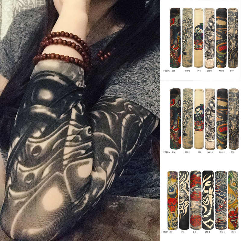 6pcs Tattoo Sleeves Sunscreen Long Cuff Arm Sleeve Armguard Tattoo Sticke Gift