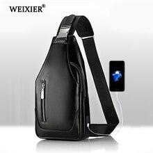 WEIXIER Brand Travel Men USB charging Messenger Designer PU Leather Female Sling bag Fashion Crossbody Bag Small Chest
