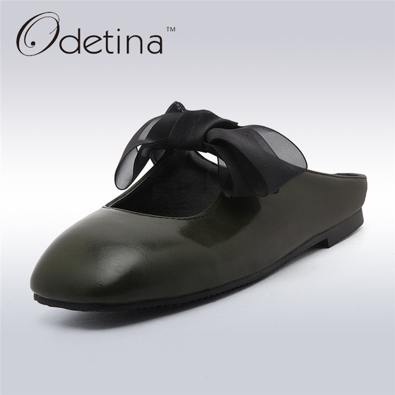 Odetina 2017 Fashion Woman Slingback Flats Square Toe Ballet Flat Shoes Bow Summer Slip on Loafers Half Slippers Ladies Mules dreamshining summer women ballet flats round toe slip on shoes cut outs flats shoes white sandals woman loafers zapatos mujer