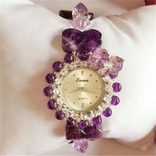 2017 Luxury Sparkling Crystal Purple Shape Watch Women Ladies Dress Quartz Wrist Watch Female Watch Luiz's Design Elegant
