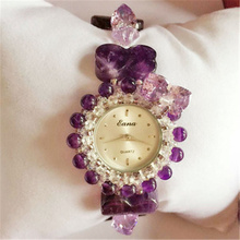 2017 Luxury Sparkling Crystal Purple Shape Watch Women Ladies Dress Quartz Wrist Watch Female Watch Luiz's Design Elegant