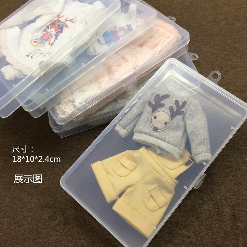 1/4 1/6 1/8 BJD SD DD doll clothes storage box transparent clear box for blyth doll clothes 18*10*2.4cm