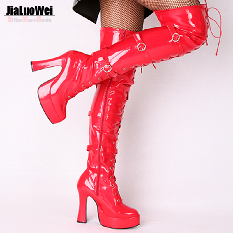ФОТО Jialuowei Halloween Fashion Sexy Women's 4.5 Inch High Heel Platform Over-the-Knee High Boots hook lace up and side zip Shoes