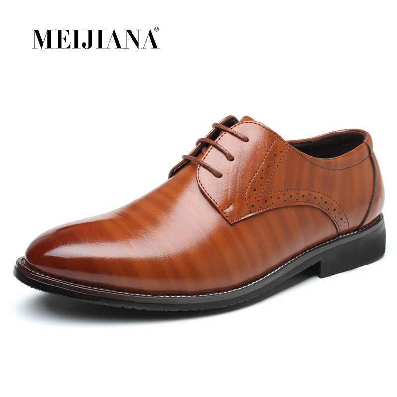 High Quality Oxford Shoes Men Brogues Shoes Lace-Up Bullock Business Dress Shoes Male Formal Shoes Plus Size 38-47 plus size peplum long lace formal dress